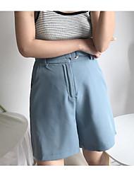 Women's High Waist Inelastic Loose Pants,Simple Straight Solid