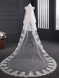 Véus de Noiva Duas Camadas Véu Capela Borda com aplicação de Renda Renda Tule