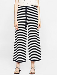 Women's Mid Rise Micro-elastic Straight Pants,Simple Straight Striped