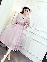 Women's Casual/Daily Swing Dress,Solid V Neck Midi 3/4 Length Sleeve Silk Summer High Rise Micro-elastic Thin