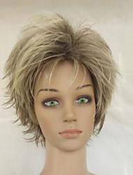 High Temperature Fiber Grey Blonde Mixed Short Layered Curly Woman Natrural Synthetic Hair Wig