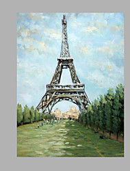IARTS® Abstract Modern Eiffel Tower in Grey & Red Paris Letters Handmade Oil Painting On Canvas with Stretched Frame Wall Art For Home Decoration Read