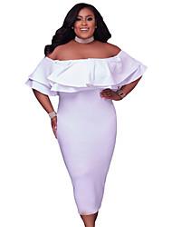 Moulante Robe Femme Soirée Grandes Tailles Sexy,Couleur Pleine Imprimé Bateau Midi Demi Manches Polyester Spandex Eté Taille Haute