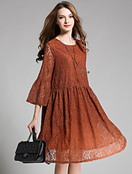 JIANRUYI Women's Party Going out Sexy Loose Lace DressLace Round Neck Midi 3/4 Length Sleeve Lace Spring Fall High Rise Inelastic 120D
