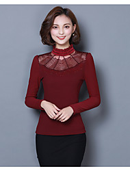 Women's Casual/Daily Simple Spring Blouse,Solid High Neck Long Sleeve Cotton Medium