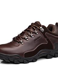 Для мужчин Спортивная обувь Удобная обувь Натуральная кожа Осень Зима Атлетический Повседневные Шнуровка На плоской подошвеЧерный