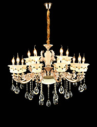 Chandelier ,  Traditional/Classic Zinc Alloy Feature for Crystal Mini Style Metal Indoors Garden Hallway 15 Bulbs
