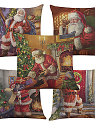 Set of 5 Santa Claus Pattern  Linen Pillowcase Sofa Home Decor Cushion Cover (18*18inch)