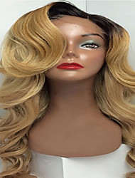 P27/613 Blonde Ombre Curly Body Wave Soft Brazilian Human Virgin Hair Glueless Full Lace  Wigs With Baby Hair For Black Women
