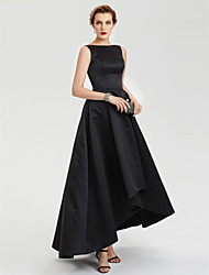 2017 TS Couture Evening Party Formal Dress - Little Black Dress A-line Boat Neck Asymmetrical Satin with Pleats
