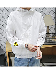 Hombre Casual Activo Diario Casual Primavera/Otoño Chaqueta,Con Capucha Un Color Patrón Manga Larga Algodón Poliéster Regular
