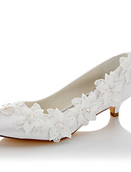 Women's Wedding Shoes Comfort Spring Fall Satin Wedding Dress Party & Evening Applique Low Heel White 1in-1 3/4in