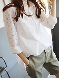 Для женщин Повседневные Весна Лето Рубашка Рубашечный воротник,Винтаж Однотонный Цветочный принт Длинный рукав,Парча,Тонкая