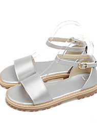 Women's Sandals Gladiator PU Summer Casual Dress Gladiator Buckle Flat Heel Purple Silver White Flat