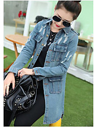 Women's Daily Modern/Comtemporary Fall Denim Jacket,Solid V Neck Long Sleeve Long Cotton Others