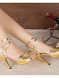 Damen Tanz-Turnschuh PU Sandalen Sneakers Innen Blockabsatz Gold Rot Blau 5 - 6,8 cm