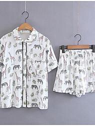 Для женщин Повседневные Лето Рубашка Брюки Костюмы V-образный вырез,На каждый день С принтом С короткими рукавами