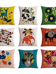 9 pcs Linen Pillow case Bed Pillow Body Pillow Travel Pillow Sofa Cushion Pillow Cover,Floral Sports and Outdoors Graphic PrintsPattern