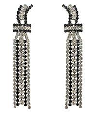 Drop Earrings Women's Fashion Vintage Silver Plated Hook Rhinestone Bead Chain Earring for Women Jewelry