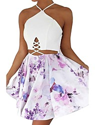 Women Holiday Going out Casual/Daily Sexy Vintage Sheath Dress Flower Criss Cross Backless Slim Halter Mini Sleeveless Spring Summer High Rise
