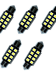 5PCS Double Pointed LED Lights 36MM 1W 8SMD 2835 Chip White 80-100LM 6000-6500K DC12V Canbus Reading Light License Plate Lights