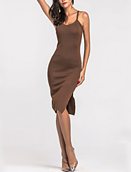 Women's Party Going out Club Sexy Bodycon Sheath Dress,Solid Strap Above Knee Sleeveless Mercerized Cotton All Seasons High Rise Stretchy