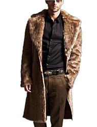 Для мужчин На каждый день Осень Пальто с мехом Воротник Питер Пен,Простой Однотонный Длинная Длинный рукав,Полиуретановая