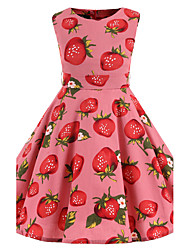 Girl's Pink Strawberry Vintage Inspired Sleeveless 50s Rockabilly Swing Dress Cotton All Seasons