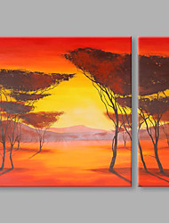 IARTS® Hand Painted Abstract Oil Painting The Beautiful Orange Sun Set View Set of 2 with Stretched Frame Picture For Home Decoration Ready To Hang