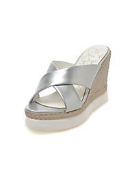Women's Heels Basic Pump Patent Leather Spring Summer Wedding Office & Career Party & Evening Dress Basic Pump Wedge HeelBlue Sliver