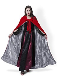Cosplay Costumes Halloween Hooded Cloak Wedding Cape Wizard/Witch Ghost Vampire Party Masquerade Red Velvet/Silver Silk