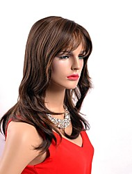 Cheap Heat Resistant Brown Natural Daily Capless Wig Long Length Synthetic Fabric Hair