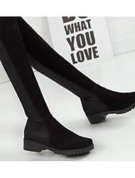 Feminino Botas Conforto Botas da Moda Pele Real Couro Ecológico Outono Inverno Casual Preto 10 a 12 cm
