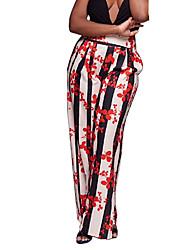 Для женщин Винтаж Богемный Уличный стиль strenchy Широкие Брюки,Завышенная Свободный силуэт Цветочный Праздник МодаПолоски Цветочный