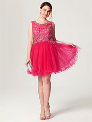 Princess Fit & Flare Illusion Neckline Short / Mini Tulle Cocktail Party Homecoming Dress with Beading Appliques Crystal Detailing Pleats
