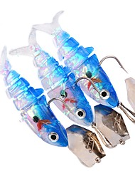 HiUmi 3Pcs New Hot Sale 29G 12CM Lead Jig Fish Head Soft Artificial Baits Softbaits Swimbaits Fishing Tackle Lures Random Color