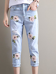 Women's Mid Rise Micro-elastic Wide Leg Jeans Pants,Street chic Relaxed Floral