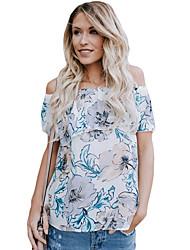 Tee-shirt Femme,Imprimé Quotidien Soirée Sexy Eté Manches Courtes Bateau Polyester Spandex Moyen