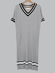 Damen Tunika Kleid-Lässig/Alltäglich Einfach Solide V-Ausschnitt Maxi Kurzarm Andere Sommer Mittlere Hüfthöhe Mikro-elastisch Mittel