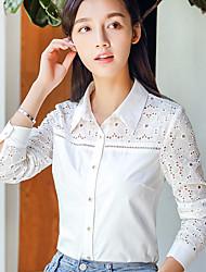 Для женщин На каждый день Рубашка Квадратный вырез,Простое Однотонный Длинный рукав,Хлопок