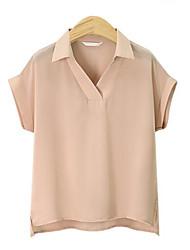 Damen Solide Street Schick Lässig/Alltäglich T-shirt,Hemdkragen Sommer Kurzarm Baumwolle Mittel