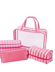 Women Storage Bag PVC All Seasons Casual Baguette Zipper Fuchsia