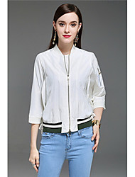 Feminino Camiseta Casual Boho Sólido Fibra Sintética Colarinho Chinês Manga 3/4