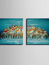 Mini Size E-HOME Oil painting Modern Abstract Circle Pure Hand Draw Frameless Decorative Painting Set of 2