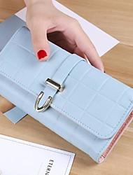 Women Checkbook Wallet PU All Seasons Casual Rectangle Magnetic Azure Light Purple Gold