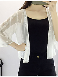 Women's Casual Casual Summer Denim Jacket,Solid Round Neck Long Sleeve Regular Cotton Oversized