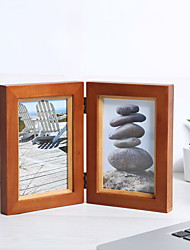 Picture Frames Casual Retro Novelty Natural Wood 1 Double Screen Random Color