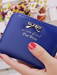 Mulher Porta Cheques Couro Ecológico Todas as Estações Casual zíper Fúcsia Azul Profundo Vermelho