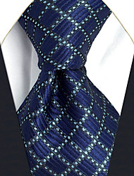 CXL25 New Extra Long 63 For Men Ties Blue Silver Dots Checked 100% Silk Handmade Classic