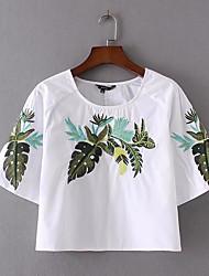 Damen Stickerei Einfach Alltag Normal T-shirt,Rundhalsausschnitt Halbe Ärmel Polyester